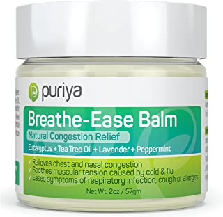 Puriya Chest Rub. Feel Instantly Better When You Rub This Aromatic Blend of Peppermint, Eucalyptus, Tea Tree and Lavender on Chest of Under The Nose. Plant-Based. Safe for Children and Parents.