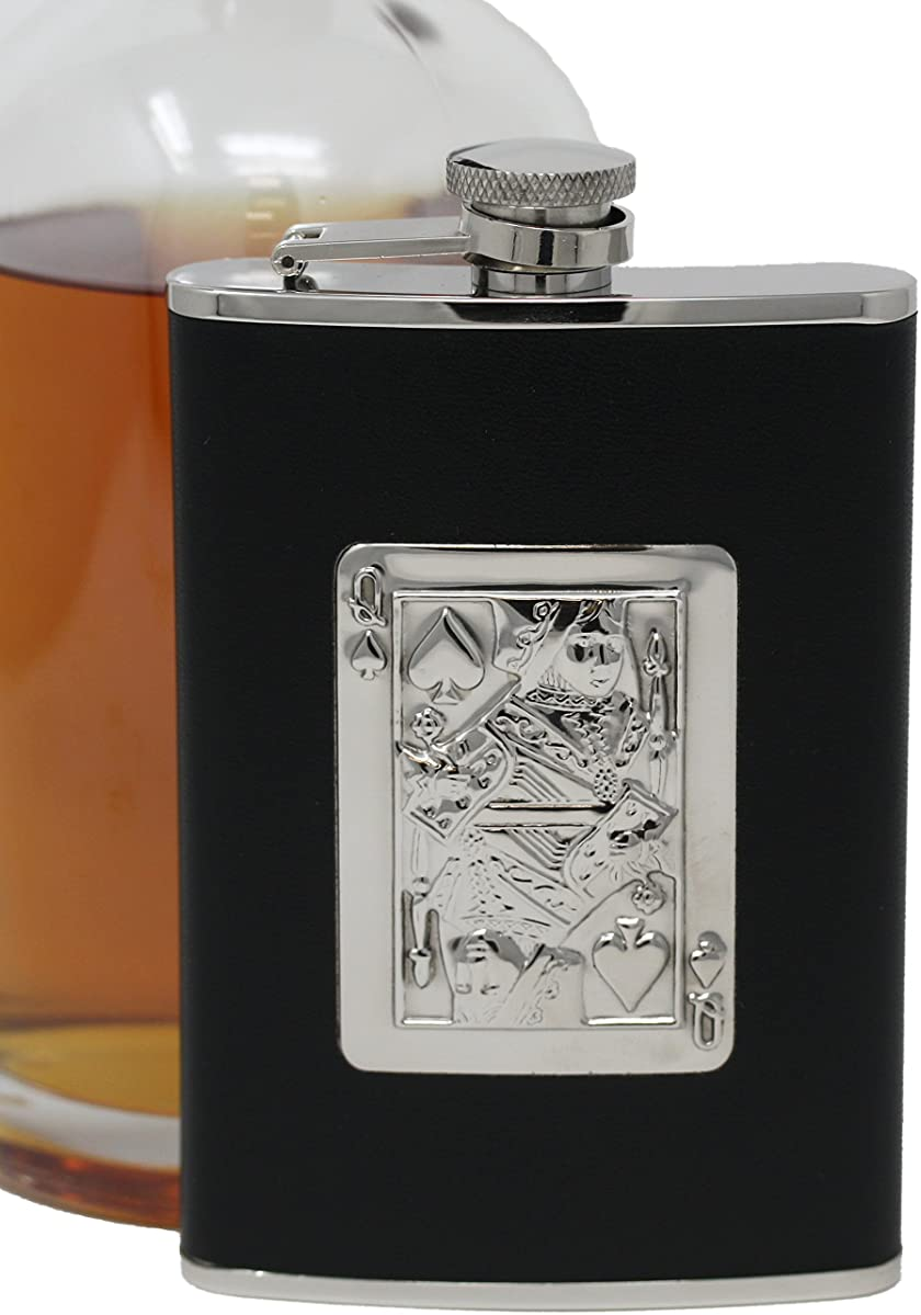 Premium 8 oz Queen of Spades 304 (18/8) Food Grade Stainless Steel Hip Alcohol Liquor Flask - BPA free and Leak and Rust Proof - Discrete Drinking Gift