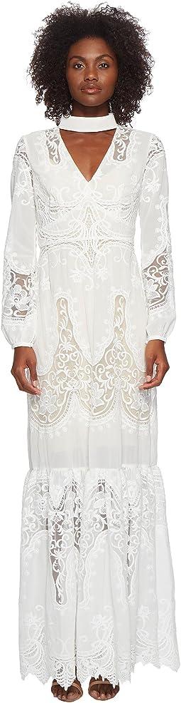 ML Monique Lhuillier - Long Sleeve Lace Maxi Dress