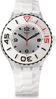 Swatch Bianca Silver Dial White Rubber Multifunction Quartz Men's Watch SUUK401