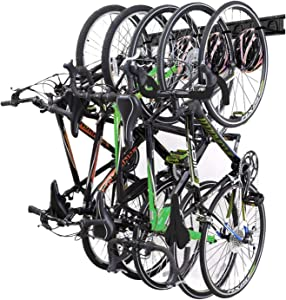 NETWAL Bike Storage Rack Wall Mount Garage Hanger for 5 Bicycles & 3 Helmets,Holds Up to 300lbs