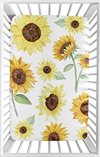 Sweet Jojo Designs Yellow, Green and White Sunflower Boho Floral Girl Baby Nursery Fitted Mini Portable Crib Sheet for Mini Crib or Pack and Play ONLY - Farmhouse Watercolor Flower