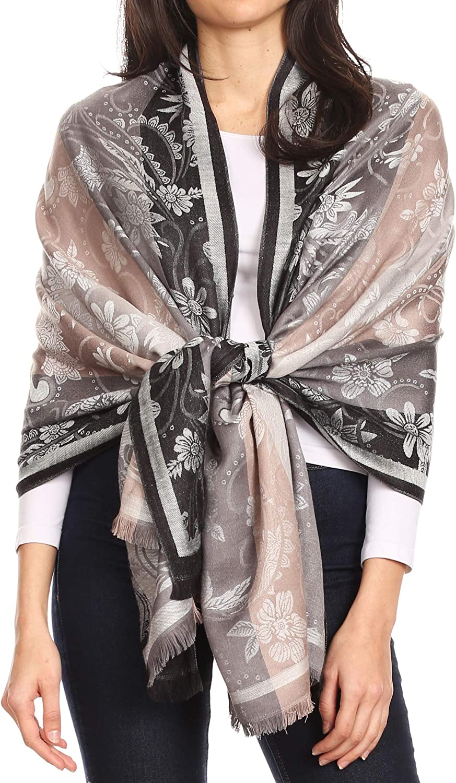 Sakkas Serina Women's Silky Soft Reversible Floral Woven Pashmina Scarf Shawl Wrap