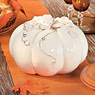 Elegant White Glaze Ceramic Pumpkin Tabletop Decor