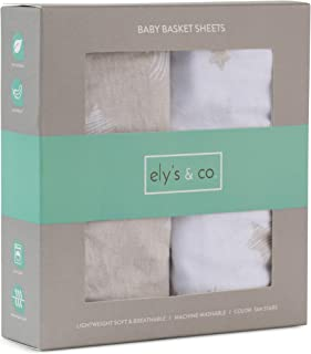 Ely's & Co. Moses Baby Basket Sheet 2-Pack - 100% Jersey Knit Cotton for Baby Boy or Baby Girl (Tan Stars) Moses Basket