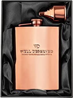 8oz Copper Flask and Funnel Set. Copper 7th / 22nd Anniversary Gifts For Men or Women, For Him or Her. Gift Bag Ideas. Rose Gold Flask. Black Satin Gift Box. Copper Alcohol Drinking Flask. COPPER GEMZ