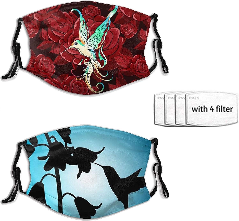 2pcs Honeysucking By Hummingbirds Face Mask With 4 Filter Washable Face Balaclava Windproof Dustproof Adjustable Mask Unisex