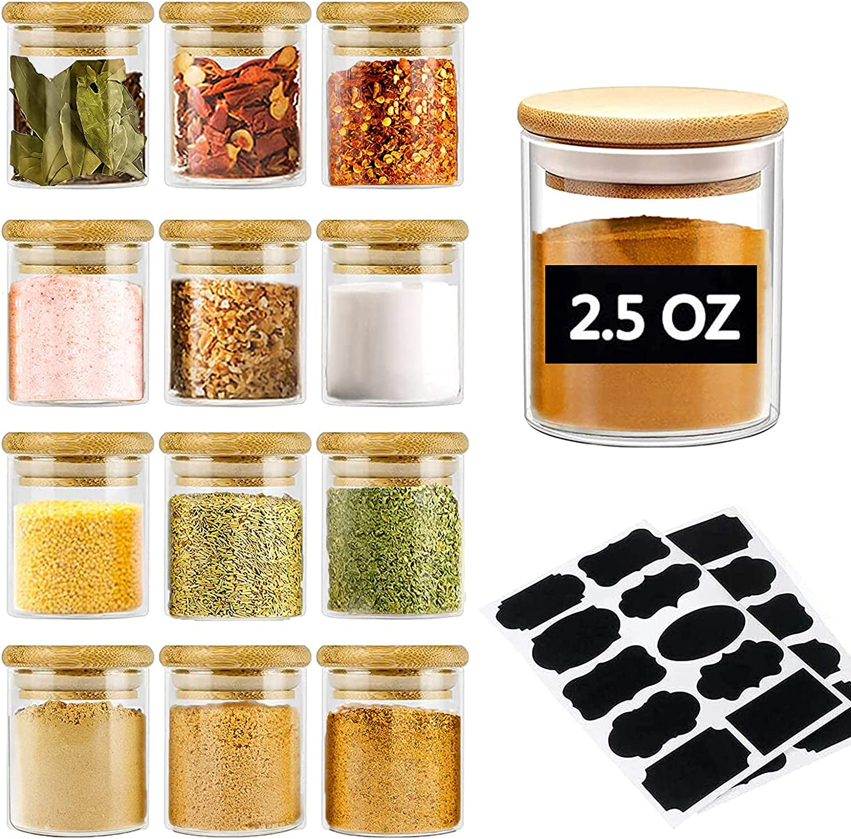 Spice Jars set,2.5oz Mini Glass Jars with Wood Airtight Lids and Labels,Empty Clear Glass Food Jars and Canisters Sets, Spice Glass Jars Bottles,Small Food Storage Jars for Spice, Herbs, Salt