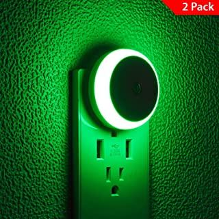 Green LED Night Light, Plug-in Light, Dusk to Dawn Sensor, Energy Efficient, 2 Pack(M1801)