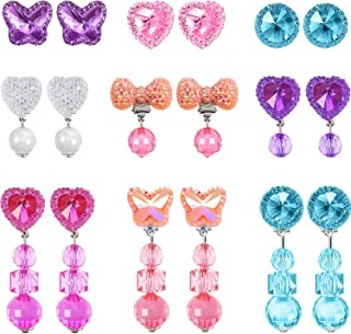 Hicarer 9 Pairs Girls Clip-on Earrings Pretend Princess Play Earrings Jewelry Set