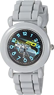 DISNEY Boys Cars 3 Analog-Quartz Watch with Silicone Strap, Grey, 15 (Model: WDS000304