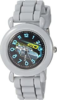DISNEY Boys Cars 3 Analog-Quartz Watch with Silicone Strap, Grey, 15 (Model: WDS000304)