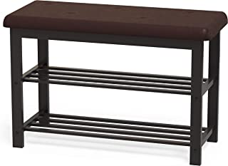 Simple Houseware Faux Leather Top Shoe Bench for Entryway Shoes Storage Organizer Rack