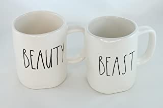 Rae Dunn Magenta Ceramic Mug Beauty Beast (Set of 2)