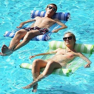 FindUWill 2-Pack Premium Swimming Pool Float Hammock, Multi-Purpose Inflatable Hammock (Saddle, Lounge Chair, Hammock, Drifter), Water Hammock Lounge (RoyalBlue and GreenYellow)