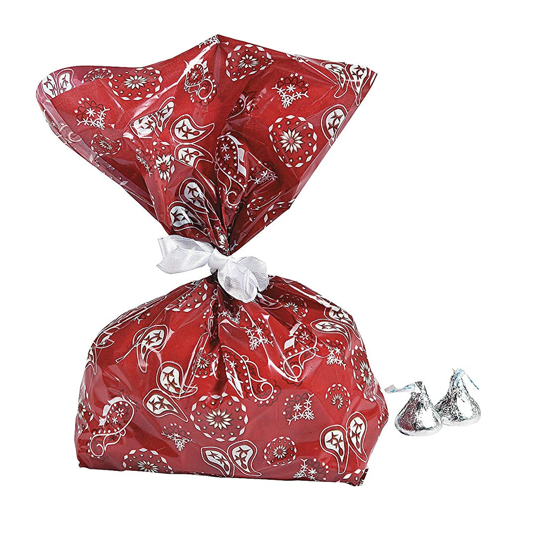 Fun Express Red Western Bandana Cellophane Party Treat Bags - 12 Piece Pack