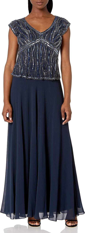J Kara Women's Petite Short Sleeve V-Neck Beaded Pop Over Dress