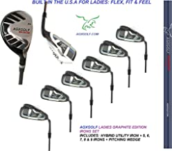 AGXGOLF Ladies, Right-Hand Magnum Graphite Iron Set #3 Hybrid + 5-9 Irons + Pitching Wedge; Petite, Regular & Tall Lengths: Built in The USA !