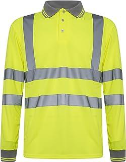 Black//Crew Neck Short Sleeve, Medium INDX-Clothing Hi Vis Viz t Shirts High Visibility Crew Neck V Neck Two Tone Light Weight Summer T-Shirt Top Polo Shirt Work Wear