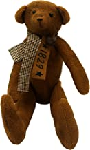 CVHOMEDECO. Vintage Grungy Stuffed Bear Ornament with Rusty Bell Collar. 17 X 11 Inch