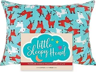 Little Sleepy Head Toddler Pillowcase, 13 x 18, Blanket-Like Material, Super Soft, Reindeers