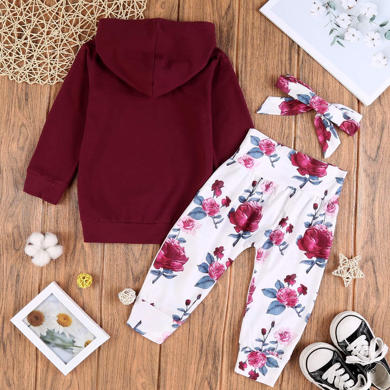 Bogen Stirnband Outfits Warme Kleidung Sets Hose trudge 3 St/ück Babykleidung Set Neugeborenes Kleinkind Baby M/ädchen Langarm Floral Hoodie Sweatshirt