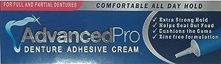 Advanced Pro crema adhesivo para dentaduras postizas completas y parciales: fórmula extra fuerte y cómoda, que se mantiene durante todo el día mientras amortigua las encías (Denture Adhesive Cream)