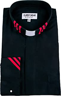 Mercy Robes Two Tone Mens Long Sleeve TAB Collar French Cuff Clergy Shirt (Black/RED Stripe)