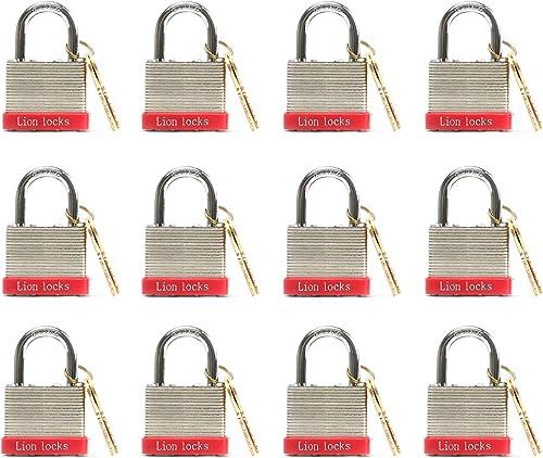 """wholesale Lion Locks 12 Keyed-Alike Padlocks w/ online 1.25"""" Shackle, 24 Keys, Hardened Steel Case, Brass Cylinder (12-Pack) - for Hasp Latch, Sheds, Fences, Storage Locker, School, online Gym online"""