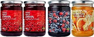 IKEA Organic Preserves Bundle - Includes Total 4 Preserves - Two SYLT LINGON Lingonberry Organic Preserves, One Rasberry&Blueberry Jam and One Orange&Elderflower Marmalade