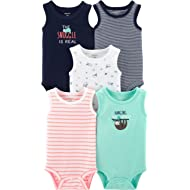Baby Boys' 5-Pack Original Bodysuits, Sleeveless, Snuggle is Real