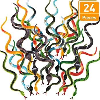 """Sensory Toy ArtCreativity Jointed Snake Toys Set of 12 Fidget Toy for Kids// Gift Idea for Boys and Girls// Carnival Prize Great Party Favor 15/"""" Long Plastic Snakes with Joining Pieces"""