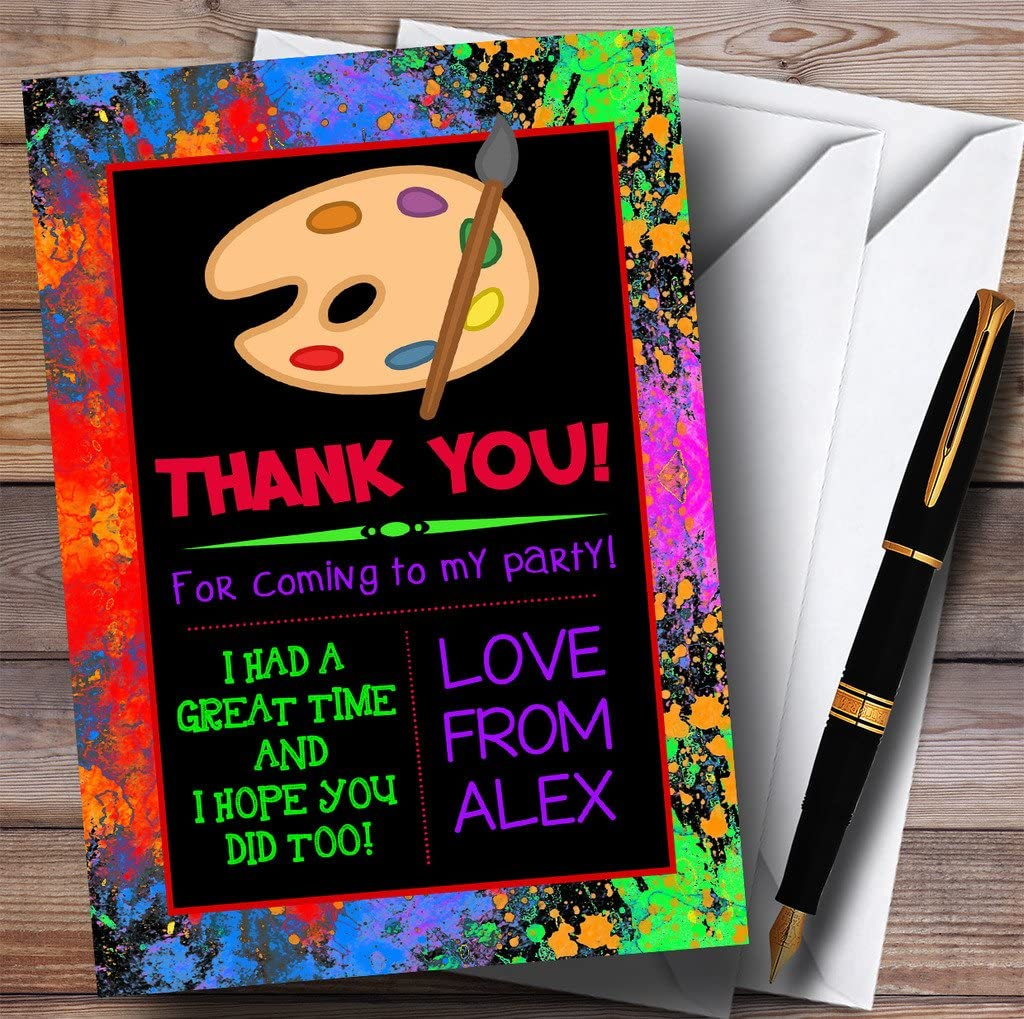 Black Splatter Paint Party Thank You Cards