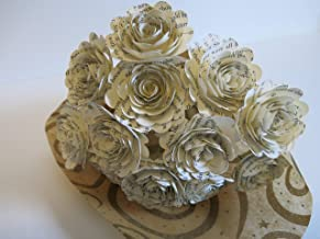 Scalloped Classic Book Page Roses on Stems, Paper Flowers Bouquet, 1 Dozen Paper Roses, 1.5 Inch Blooms, Bridal Shower Decoration, Party Decor, Set of 12, Wedding Event Planning