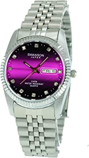 Swanson Men's Stainless Steel Day-Date Watch Hot Pink Fade Dial Stone Numbers with Travel Case