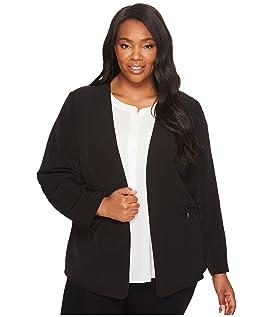 Plus Size Milano Twill Open Front Blazer