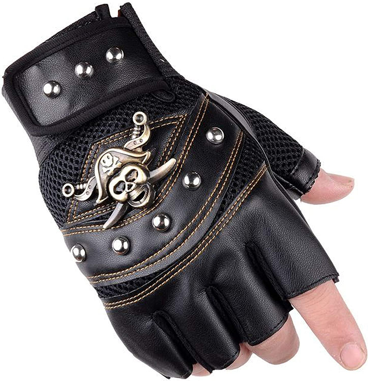 Men's Punk Rock Biker Pirate Skull Gloves Motorcycle Skeletal Rivet Driving Fingerless Mitten