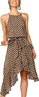 ECOWISH Womens Boho Polka-dot Tie Waist Irregular Cocktail Midi Dress Sleeveless Halter Neck Sexy Sundress S-3XL