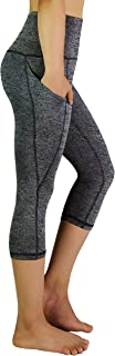 REETOYO High Waist Yoga Pants with Side Pockets Tummy Control Workout Running 4 Way Stretch Yoga Capris Leggings