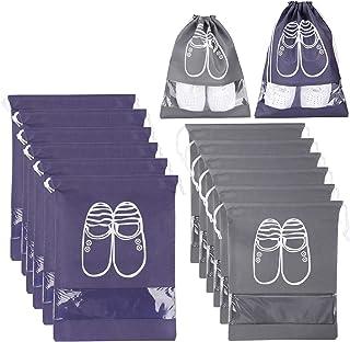 XDDIAS 12 Piezas Bolsa de Zapatos, Impermeable Bolsa a Prueba de Polvo Zapatos, Zapatos de Viaje Bolsa de Acabado con Vent...
