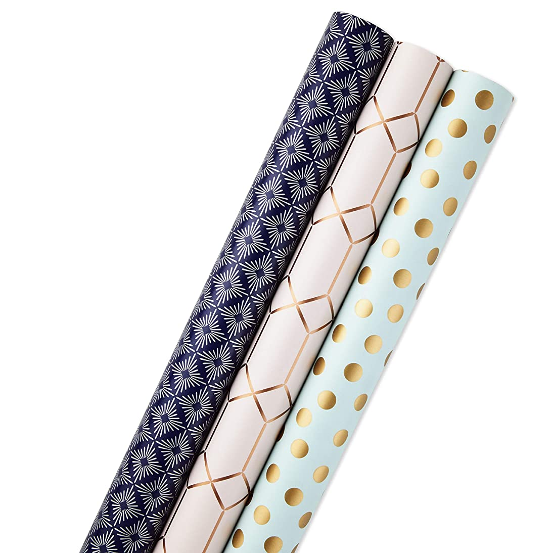 Hallmark All Occasion Reversible Wrapping Paper for Birthdays, Bridal Showers, Baby Showers, Mothers Day, and More (Modern Metallics, Pack of 3, 120 sq. ft. ttl.)