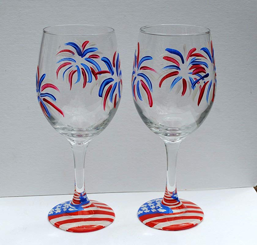 Fireworks USA American Flag Hand Painted Stemmed Wine Glasses Set Of 2