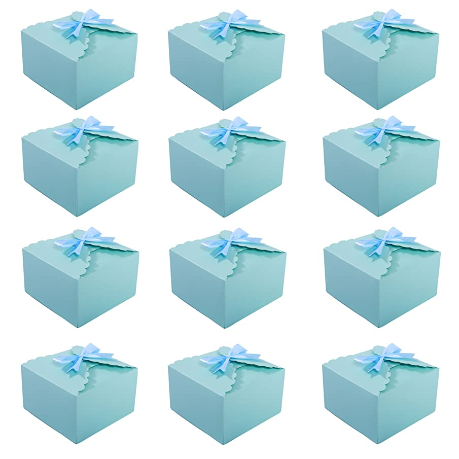 MissShorthair Gift Boxes, 12 Pack Solid Color Decorative Boxes for Small Gifts, Favor Boxes for Christmas, Wedding, Birthday, Party, Holidays (Blue)