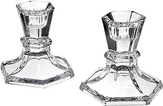 Godinger Silver Art Set of 2 Hexagon Crystal Candle Stick Holders