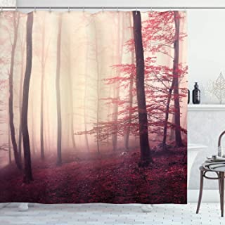 Ambesonne Woodland Shower Curtain, Fantasy Marsala Color Foggy Forest Jungle Dreamy Wilderness Woods Sunlight, Cloth Fabric Bathroom Decor Set with Hooks, 75