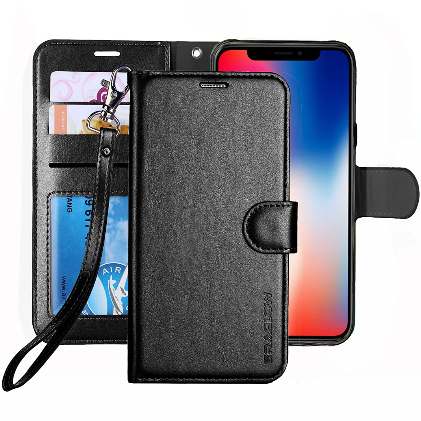 ERAGLOW for iPhone X/Xs Case, Luxury PU Leather Wallet Flip Protective Case Cover with Card Slots and kicktand for 5.8 inches iPhone X Xs (Black)