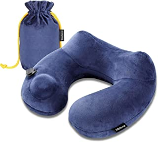 Metene Travel Pillow Soft Velvet Inflatable Neck Support Pillows for Airplanes Washable Cover with Portable Carrying Bag