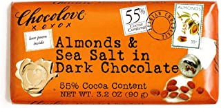 Chocolove Almonds and Sea Salt in Dark Chocolate 3.2 oz each (2 Items Per Order)