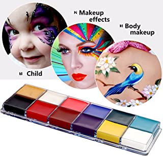 Mermaid Face Painting Kits,12 Flash Colors Face Body Paint Kits Oil Painting Makeup Palette Art Holiday Make Up Paintings for Kids and Adults