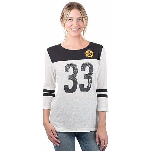 0decf517a40 ICER Brands NFL Women's T-Shirt Vintage 3/4 Long Sleeve Tee Shirt,